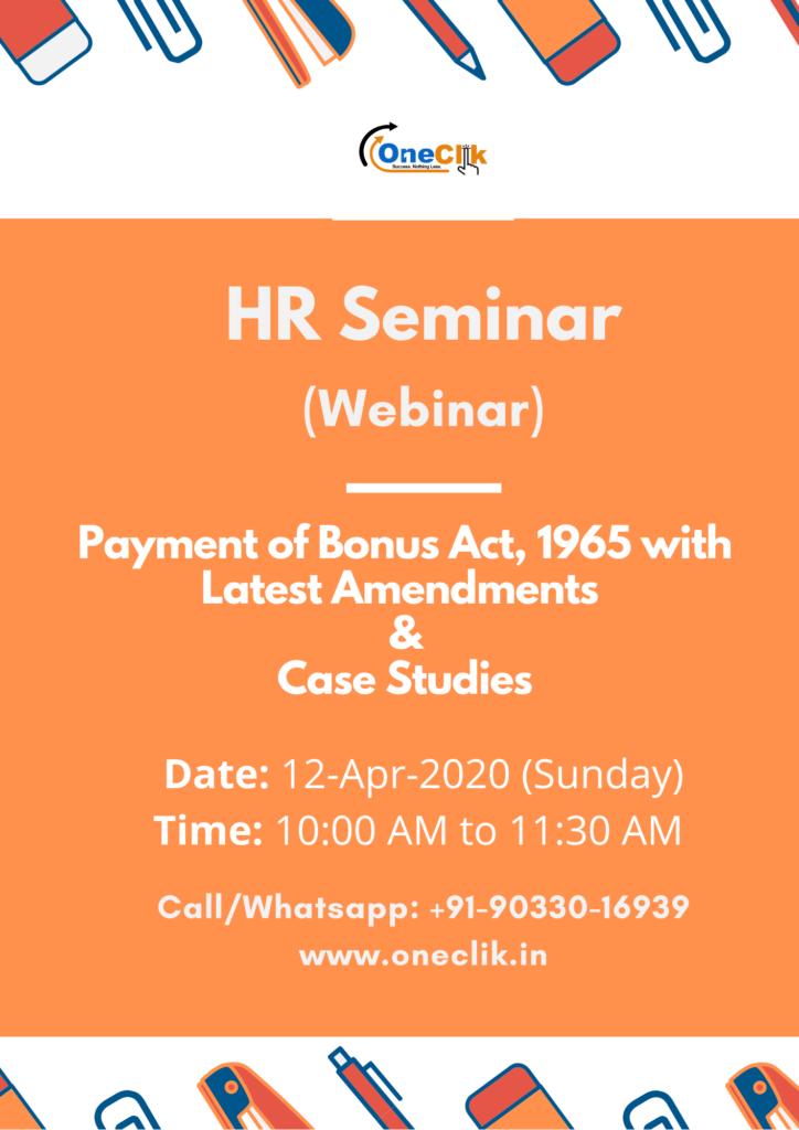 HR Seminar (Webinar) on Payment of Bonus Act, 1965: