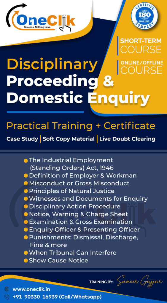 Disciplinary Proceeding & Domestic Enquiry | Short Term Course With Latest Updates